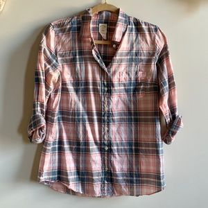 J. Crew Pink and Blue Plaid Button Down Shirt